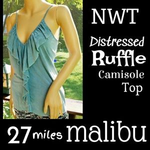 ▪️NWT▪️27 MILES MALIBU▪️Teal Ruffle Camisole Top